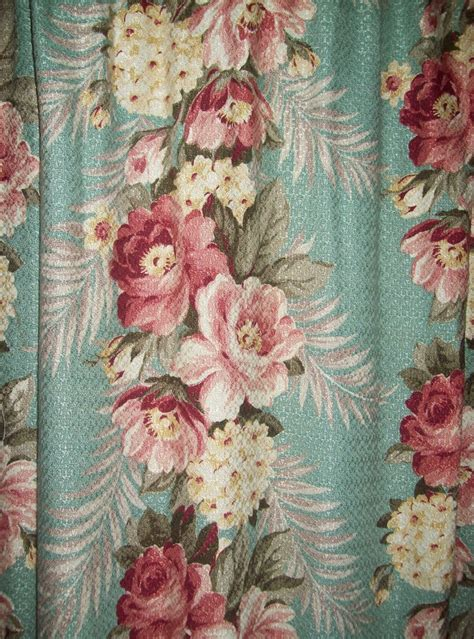 barkcloth drapes vintage barkcloth pair curtains aqua pink roses panels