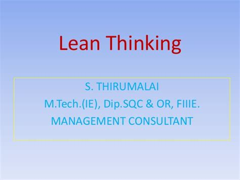 Lean Operations Mba by Lean Thinking Management Topic From Mybskool