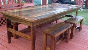 white rustic farm table benches diy projects