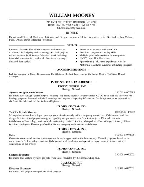 Electrical Estimator Sle Resume by Hastings Resume Service