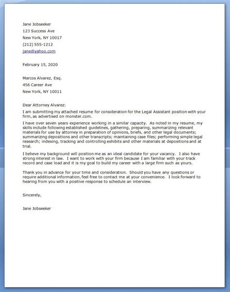 cover letter for lawyer free cover letter sle