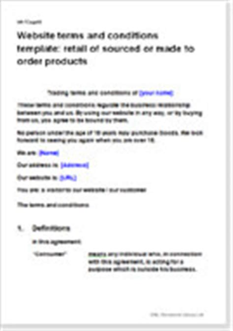 website terms conditions for retail of goods t c templates