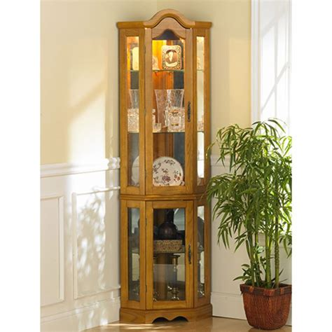 glass shelves with lights built in golden oak lighted corner curio cabinet with built in