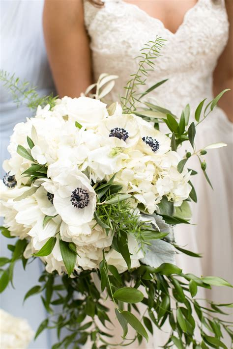 Wedding Bouquet And White by White Hydrangea And Anemone Bridal Bouquet