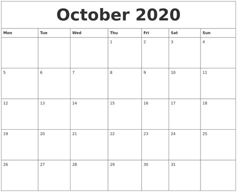 october 2020 blank monthly calendar template