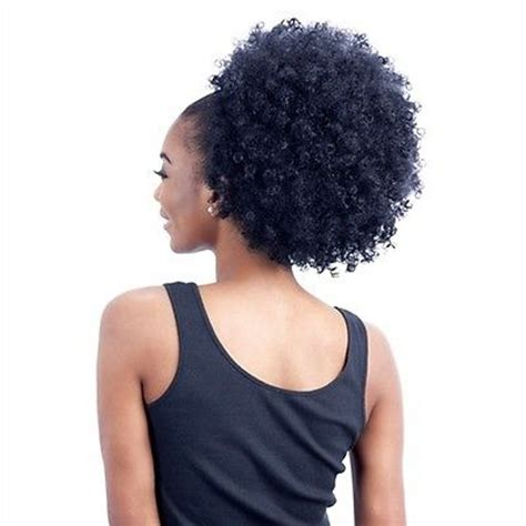 small afro drawstring pom afro kinky curly ponytail human hair extension drawstring