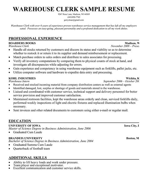 resume template for warehouse worker free for download warehouse
