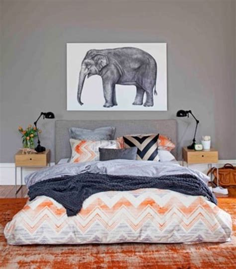 Grey And Orange Bedroom Decor by Style Trend Elephants Bedrooms