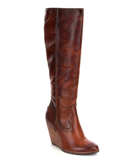 cece boot frye cece wedge boots in brown lyst