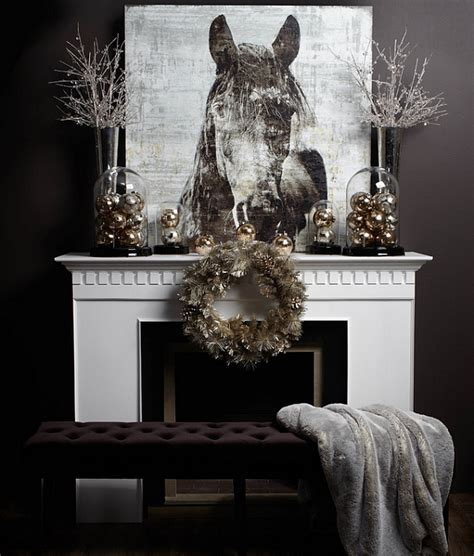 decorating for christmas with gold blue and gray 50 mantle decoration ideas