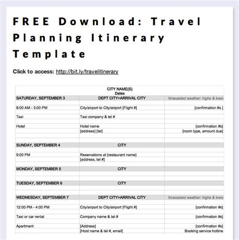 free download travel planning itinerary template long