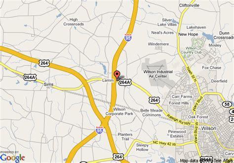 wilson carolina map map of quality inn wilson wilson