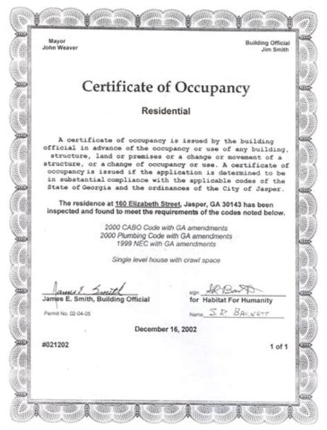 certificate of occupancy template gallery land surveying