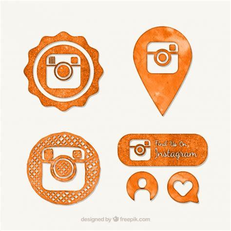 icones alaranjados  instagram aguarela vetor gratis