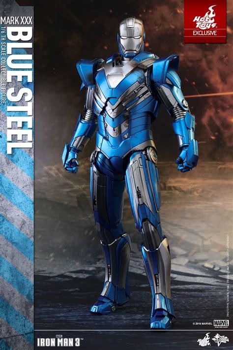 hot toys iron man mark xxx blue steel armor figure