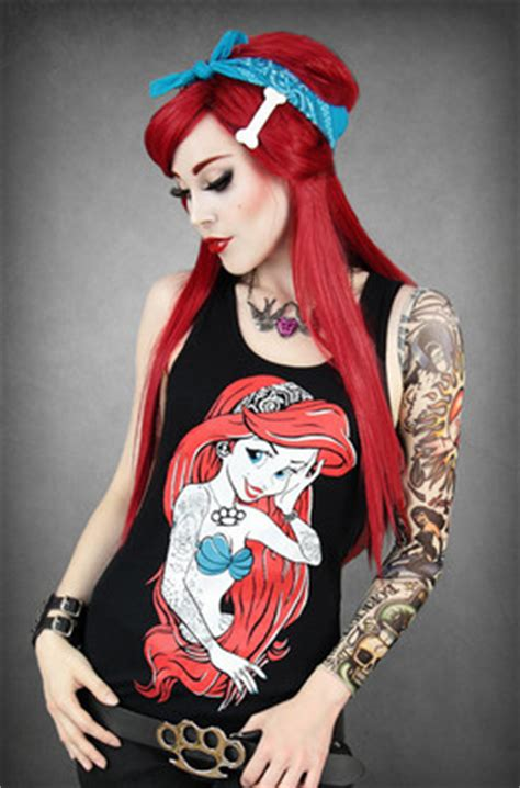 tattooed ariel shirt restyle rebel mermaid ariel black
