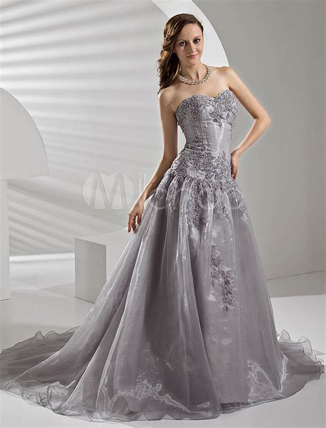 Silver Wedding Dresses Uk by Court Silver Organza Wedding Dress With A Line