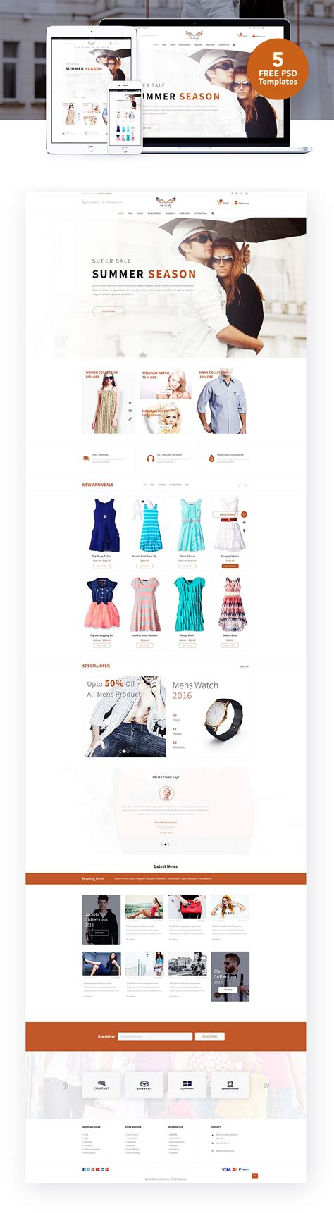 fashion ecommerce website templates free psd download