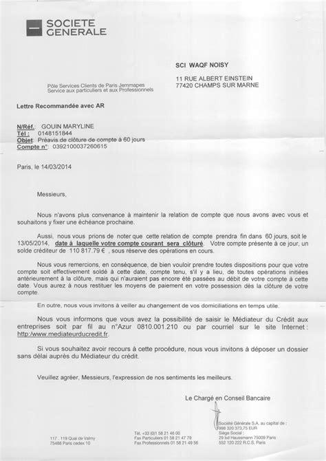 Lettre De Cloture Free Document La Soci 233 T 233 G 233 N 233 Rale Cl 244 Ture Le Compte Bancaire