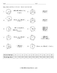 quiz angles and arcs in circles central and inscribed
