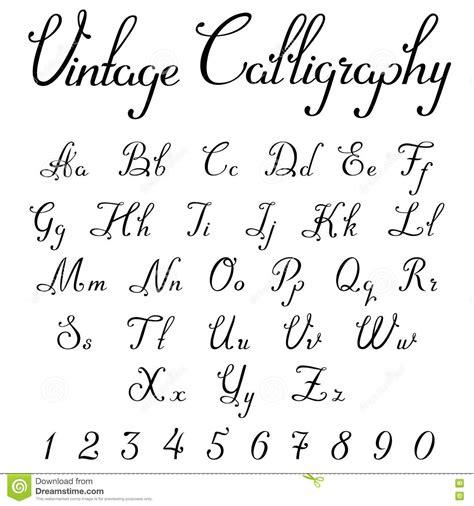vintage calligraphic script font vector letters stock