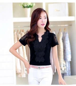 Stok Ready Fashion Busana Wanita Atasan Blouse Arian Blouse baju atasan wanita kerah v hitam model terbaru jual murah import kerja
