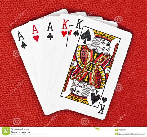 full house in poker full house poker hand on royal red background stock images image 18354604