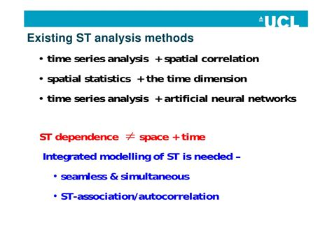 Analysis Methods Some Developments In Space Time Modelling With Gis Tao Cheng Univer
