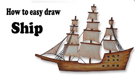 how to draw a boat from the first fleet how to draw sailing ship step by step easy draw youtube