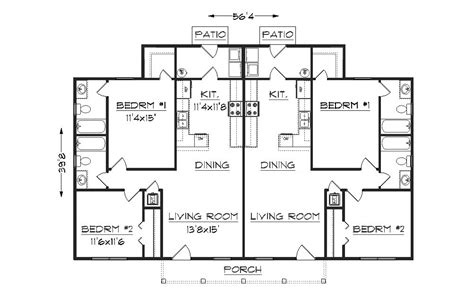 floor plan of a duplex duplex plan j942d