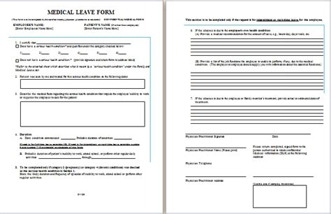 Medical Leave Form Templates Free Printable Microsoft Forms Templates