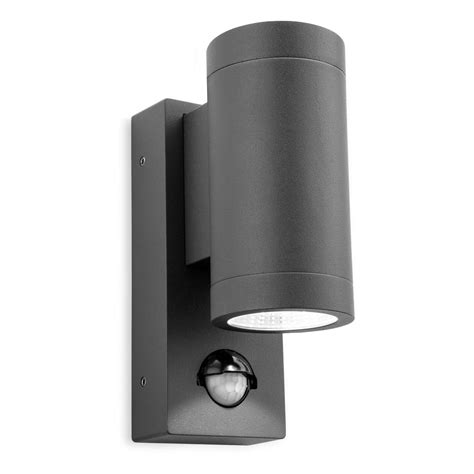 Outdoor Pir Lights Uk Firstlight Shelby Led 2 Light Outdoor Wall Fitting In Graphite Finish With Pir Sensor Lighting