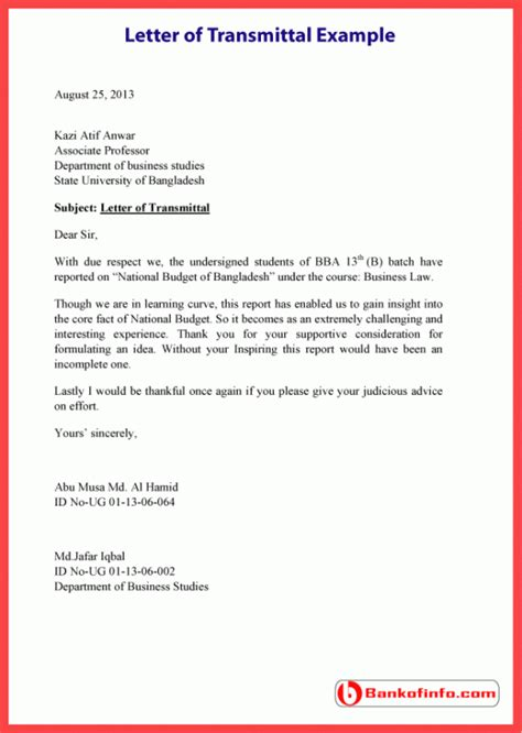 Letter Of Transmittal Template Letter Of Transmittal Example Template Sample Format