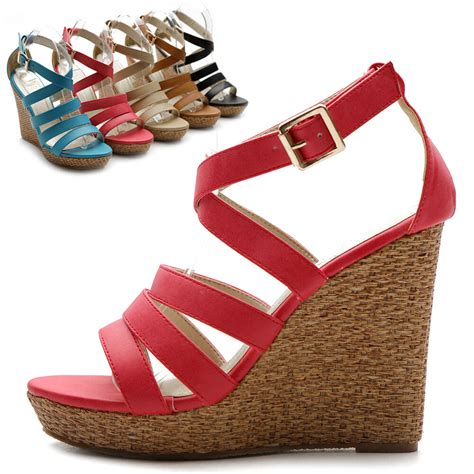 multi colored sandal heels new womens shoes wedge high heels platforms open toe pumps