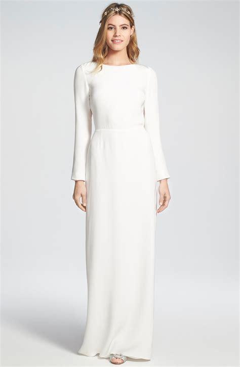 White Silk Wedding Dresses by Cheyne Open Back Sleeve Silk Column Gown