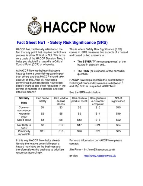 food safety risk assessment template haccp fact sheet 1 risk assessment