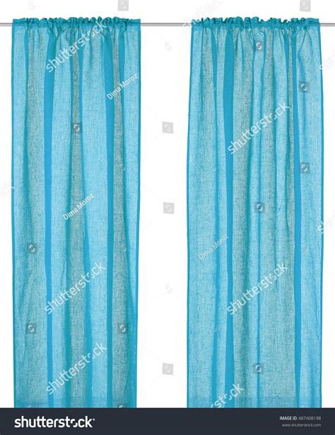 cyan curtains cyan curtain isolated on white background stock photo