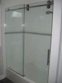 trackless shower door bottom trackless tub glass door project basement bath