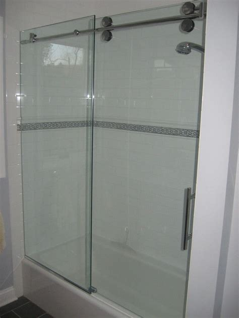 bottom trackless tub glass door project basement bath