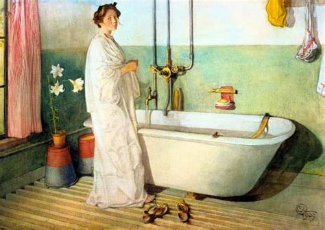 Painting The Bathtub by Carl Larsson Lisbeth Prepares A Bath