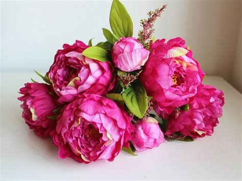 artificial peony faux silk flowers wedding party christmas 7 heads large silk peony bridal bouquet artificial flower