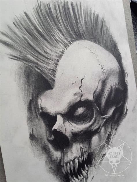 dark evil tattoo designs mohawk skull by andreyskull deviantart on deviantart