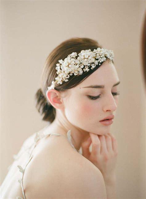 Rhinestone Flower Headpiece bridal headpiece tiara headband golden flower and