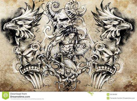 ancient tattoos designs ancient warrior sketch stock illustration image