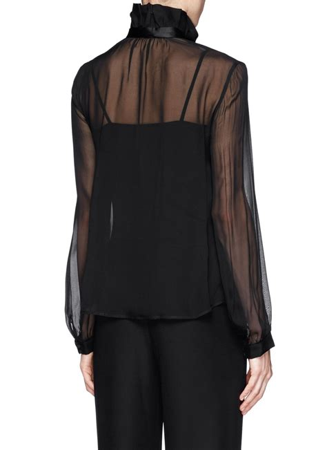Sheer Black Blouse With Bow by Armani Tie Bow Sheer Silk Blouse In Black Lyst