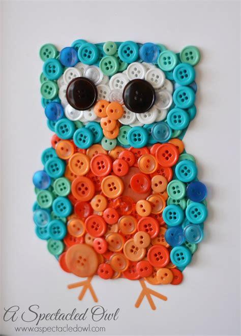 diy owl crafts diy owl button craft a spectacled owl