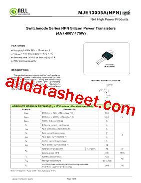 Transistor Mje13005a Transistor 13005 E3 mje13005a 데이터시트 pdf nell semiconductor co ltd