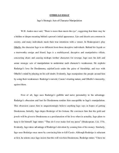 Othello Essays by Othello Essay About Iago