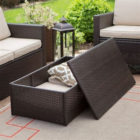 outdoor wicker storage coffee table outdoor coffee tables