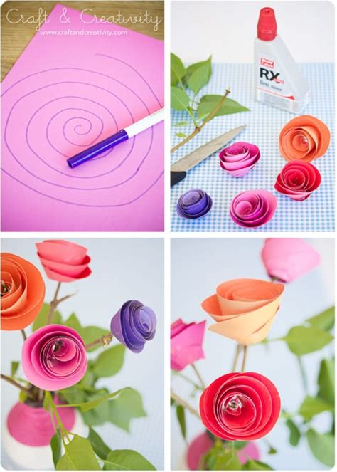 Paper Roses Craft - 10 construction paper flowers diy flower craft ideas